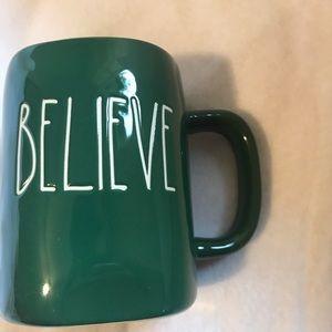 Rae dunn green believe mug